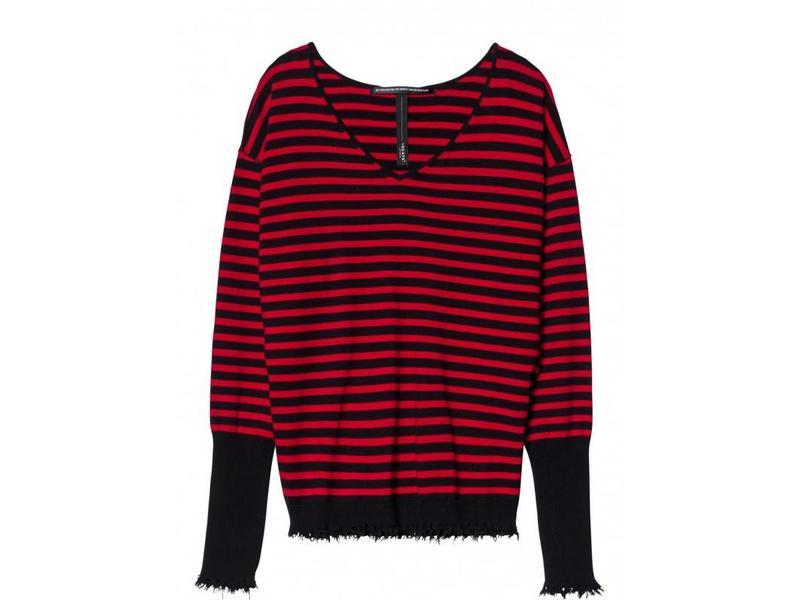 10Days v-neck sweater stripe zwart 20-607-8103