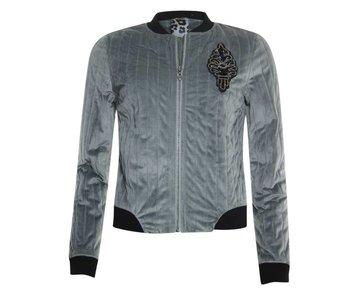 Poools Bomber jacket velvet grijs 833110
