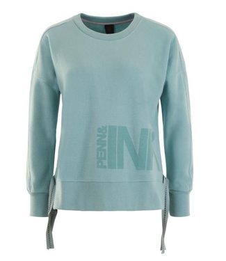 Penn & Ink Sweater print blauw W18F328