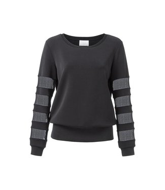 Yaya SWEATER W. TRANSPARANT DETAILS BLACK 100920-823