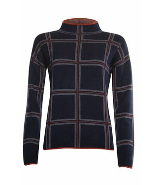 Poools Sweater check donkerblauw 833242