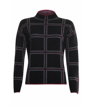 Poools Sweater check zwart 833242