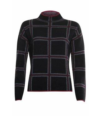 Poools Sweater check zwart 833242