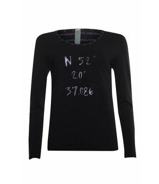 Poools T-shirt lurex stripe zwart 833118