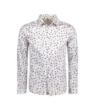 No Excess Shirt allover printed satin white 87410704