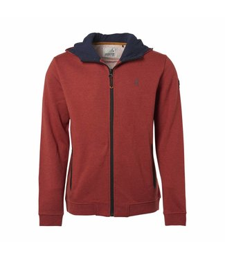 No Excess Sweater, Hooded full zip Cardigan, Stone Red 87100904