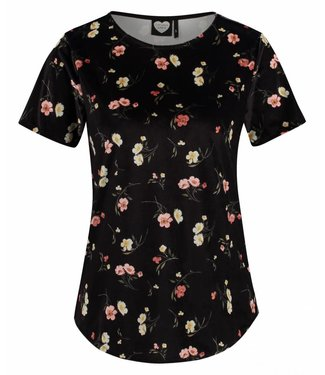 T-shirt winter florals zwart 1802040209
