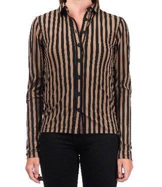 Penn & Ink Blouse stripe bruin W18N332