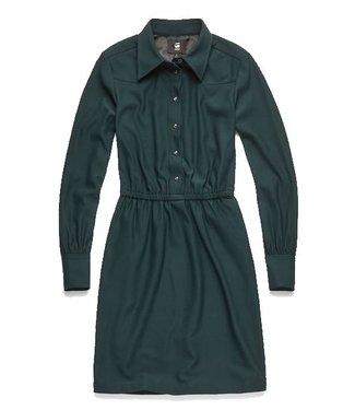 G-Star Tacoma straight flare dress donkergroen D11423-9936-4287