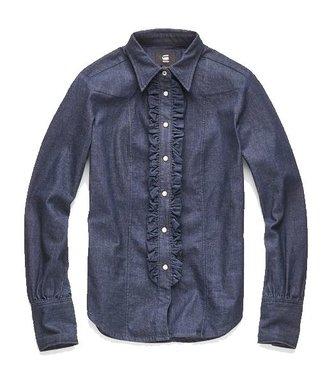 G-Star Tacoma clean slim frill shirt blauw D11304-8615-082