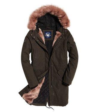 Superdry Frankie faux fur lined parka donkergroen G50003GR