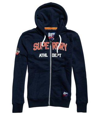Superdry Academy sport applique zipthru donkerblauw M20033TR