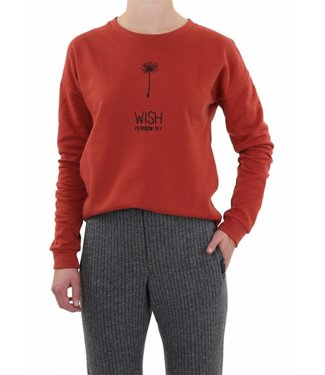 Penn & Ink Sweater embroidery roest/oranje W18T093LTD