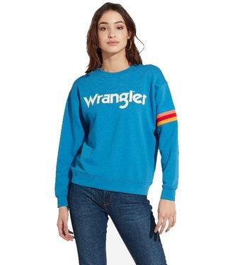 Wrangler Logo sweater blauw w6072hqdf