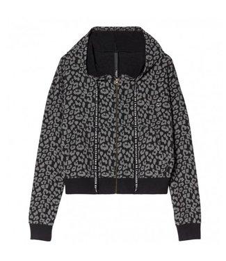 10Days Cropped cardigan leopard zwart 20-853-8103