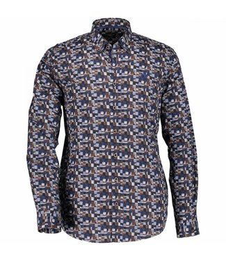 State of Art Shirt Printed Poplin donkerbruin 214-28207-8957