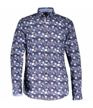 State of Art Shirt Printed Poplin donkerbruin 214-28180-8957