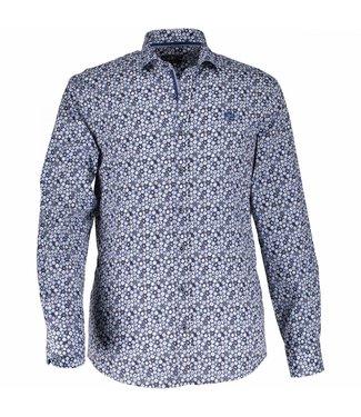 State of Art Shirt Printed Poplin donkerbruin/kobalt 214-28166-8957