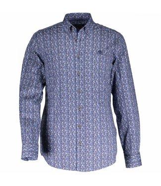 State of Art Shirt Printed Poplin donkerbruin/kobalt 214-28157-8957
