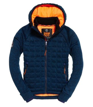 Superdry Storm quilted ziphood blauw M20011AR