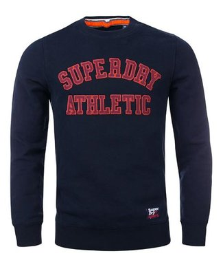 Superdry Academy ribbed crew donkerblauw M20034TR
