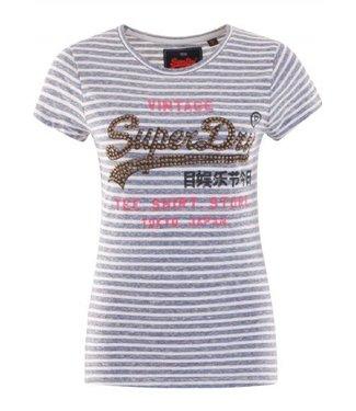 Superdry Shirt shop stripe entry tee lichtblauw G10008TR