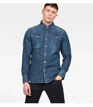 G-Star 3301 slim shirt l/s blauw D13542-D013-4442