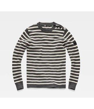 G-Star Dadin stripe r knit l/s grijs D13279-B155-A378