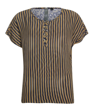 Poools Blouse striped bruin 913112
