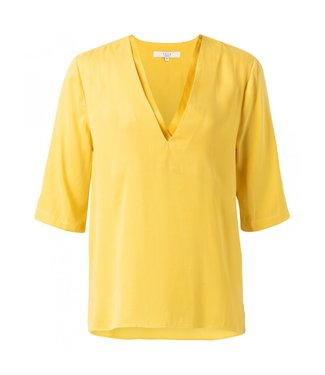 Yaya DOUBLE V-NECK TOP MUSTARD YELLOW 1901110-913