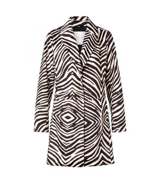 Yaya FAKE FUR COAT ZEBRA PRINT BLACK DESSIN 161118-913