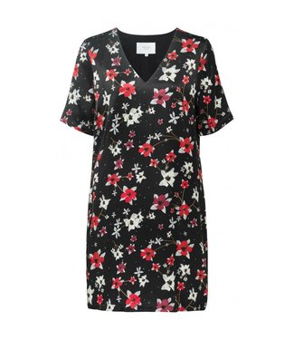 Yaya STRAIGHT DRESS FLOWER PRINT BLACK DESSIN 180165-912
