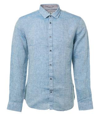 No Excess Shirt, l/sl, linen slub effect Indigo Blue 90410216