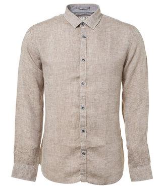No Excess Shirt, l/sl, linen slub effect white 90410216