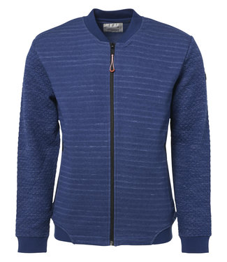 No Excess Sweater, full zip bomber, jacquard Indigo Blue 90100201