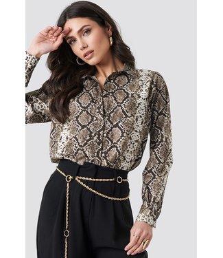 NA-KD Snake printed cotton shirt bruin 1018-001961