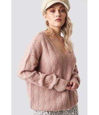 NA-KD V-neck pattern knitted sweater roze 1615-000005