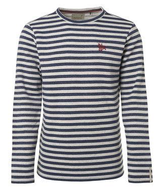 No Excess Sweater, R-Neck, yarn dyed stripe+n Indigo Blue 90130252