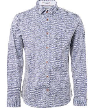 No Excess Shirt, l/sl, allover digital printe Indigo Blue 90410105