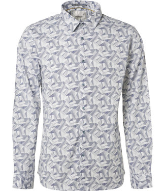 No Excess Shirt, l/sl, allover printed stretc white 89481104
