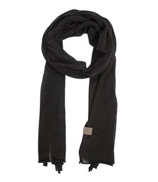 Zusss Fijngebreide lange sjaal zwart 03FS19v