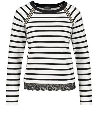 Taifun PULLOVER LONG-SLEEVE OFF-WHITE/BLACK STRIPED 372043-15132