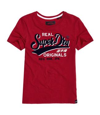 Superdry Real originals flock entry tee rood G10134TT