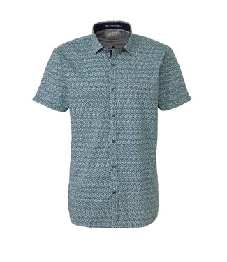 No Excess Shirt, s/sl, allover printed, stret Dk Seagreen 90460306