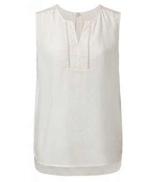 Yaya SLEEVLESS TOP LACE TRIMS OFF WHITE 1901138-914