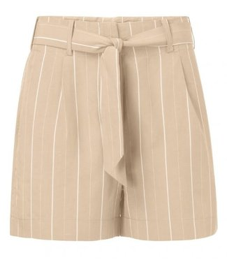 Yaya STRIPED PAPERBAG WAIST SHORT LIGHT SAND 123101-914