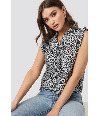 NA-KD Ruffle leopard button up zwart 1018-002673