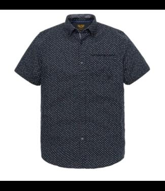 PME Legend Short Sleeve Shirt Linen Print Mic Dark Sapphire PSIS193206