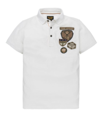 PME Legend Short sleeve polo Rugged pique Bright White PPSS193854