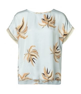 Yaya WOVEN TOP FADED FLOWER PRINT LIGHT BLUE DESSIN 1901145-915